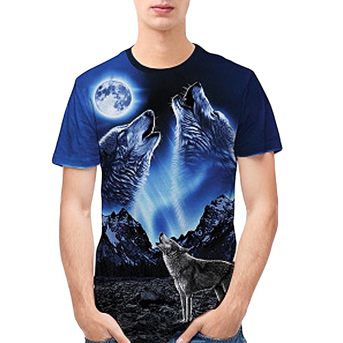 Fashion Jummoon Shop  Personality Mens 3D Print Wolf Casual Slim Short-sleeved Shirt Top Blouse à prix pas cher