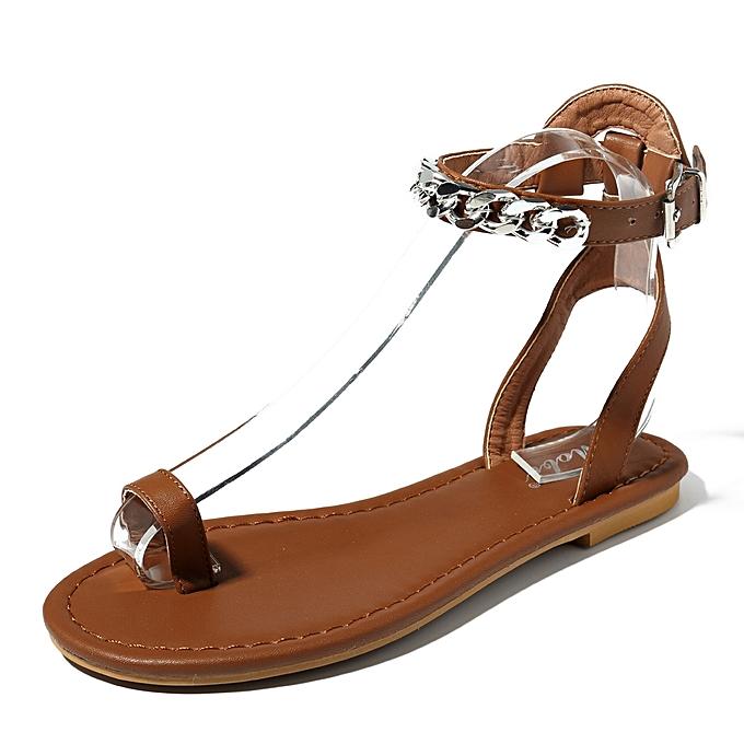 Fashion Roman Metal Chain femmes chaussures Clip Toe Sandals à prix pas cher