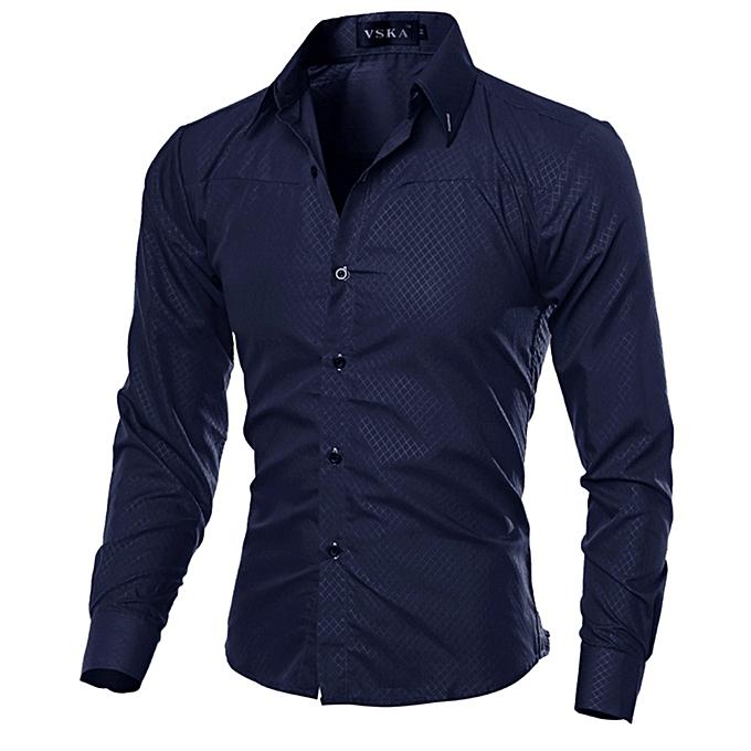 Other Stylish Taille M-5XL High Quality Men Shirt Sim Fit Shirt -Navy bleu à prix pas cher