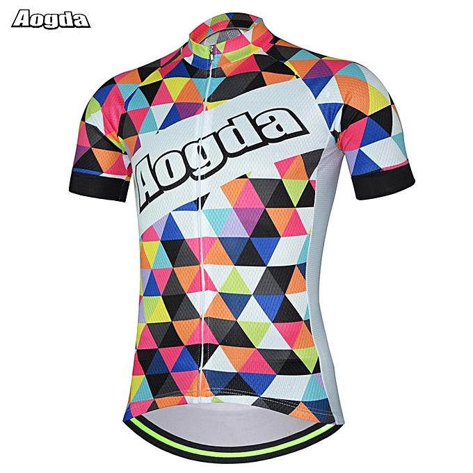 UNIVERSAL AOGDA  Design Couleurful Men's Sports Cycling Bike Jersey Bicycle Short Sleeve à prix pas cher