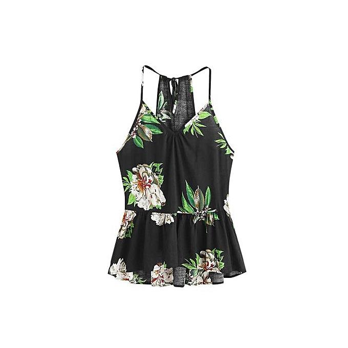 Fashion femmes Floral Casual Sleeveless Crop Top Vest Tank Shirt Blouse Cami Top à prix pas cher