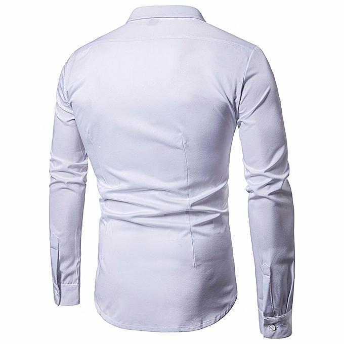 mode Hommes's Robe Shirts Slim Fit Solid manche longue Décontracté Button Shirts Formal Top- blanc à prix pas cher