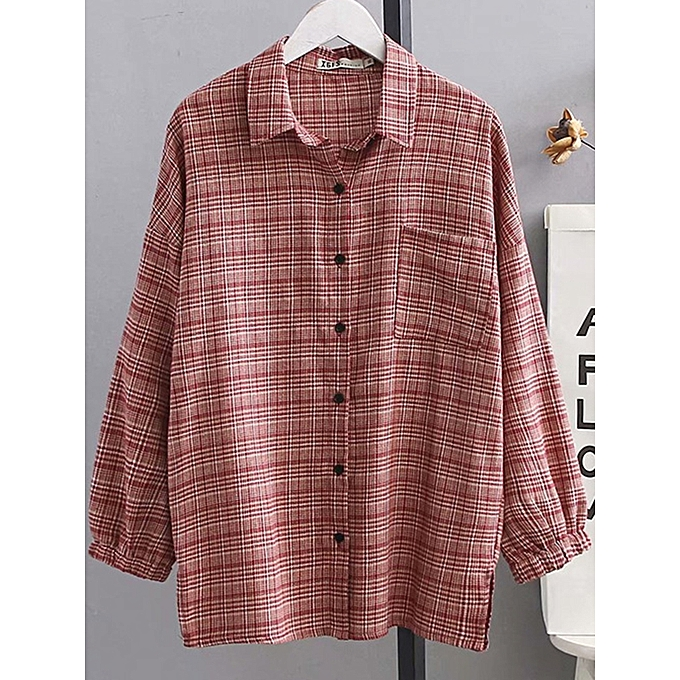 Fashion Plus Taille 3-6XL Casual Lapel Long Sleeves Button Plaid Shirts with Pocket à prix pas cher