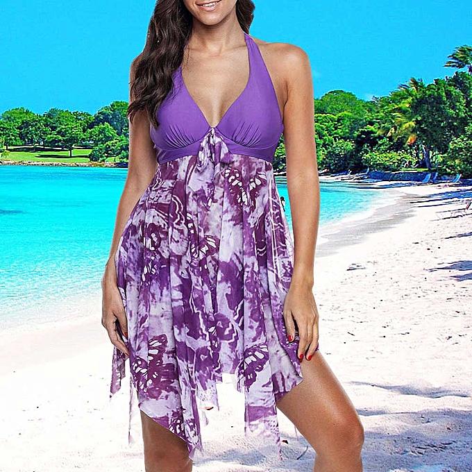 Other Plus Taille Swimwear 5XL femmes One Piece Swimsuit Skirt Padded Bra Tankini Bathing Suit 6XL Female Big beachwear(violet) à prix pas cher