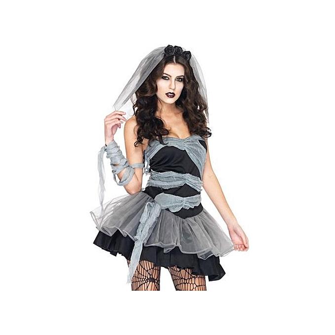 UNIVERSAL femmes Corpse Bride Fancy Dress Halloween Party Costume W  Head +Hand Veil 3 Taille XL à prix pas cher