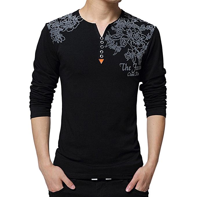 Fashion Men's Spring Casual Fashion Printing Long Sleeved Button T-shirt Tops Blouse -noir à prix pas cher