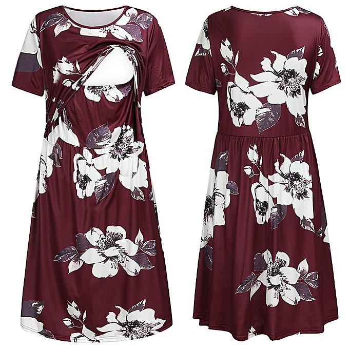 Fashion femmes Maternity Short Sleeve Floral Print Nursing Sundress Breastfeeding Dress à prix pas cher