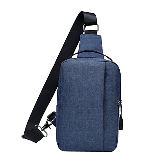 Fashion Tcetoctre High Capacity  USB Chest Bag For Men&Female Canvas Casual Crossbody Bag DB-Dark bleu à prix pas cher