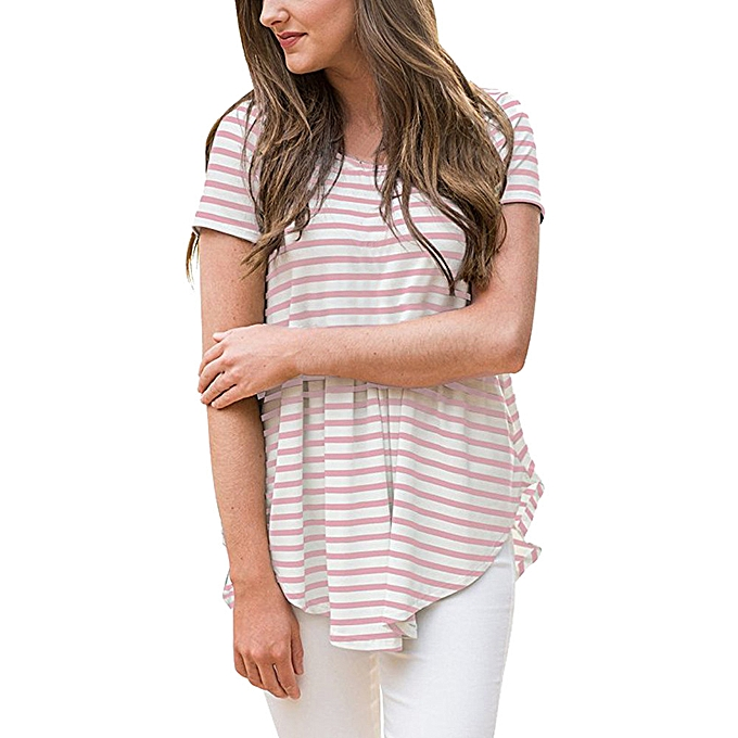 Fashion Meibaol store femmes Casual Striped Pleated Short Sleeve T-Shirt Irregular Hem Tunics Blouse à prix pas cher