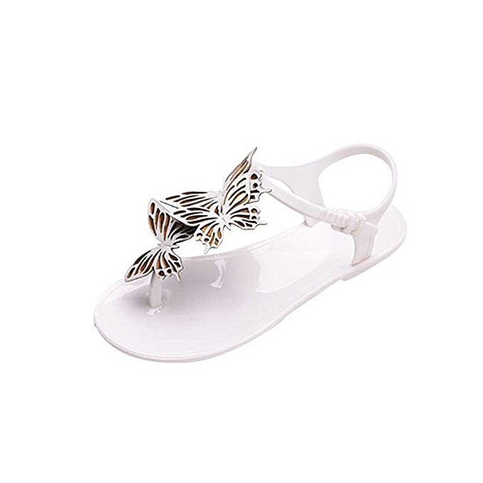Fashion Jiahsyc Store femmes Casual Summer Beach Butterfly Flip Flops Summer Brief Hasp Flat Sandals -blanc à prix pas cher