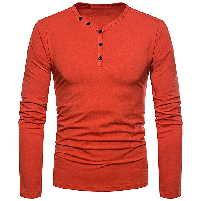 Fashion Fashion Men's Personality Slim Fit Casual Long Sleeve Solid Shirt Top Blouse -rouge à prix pas cher