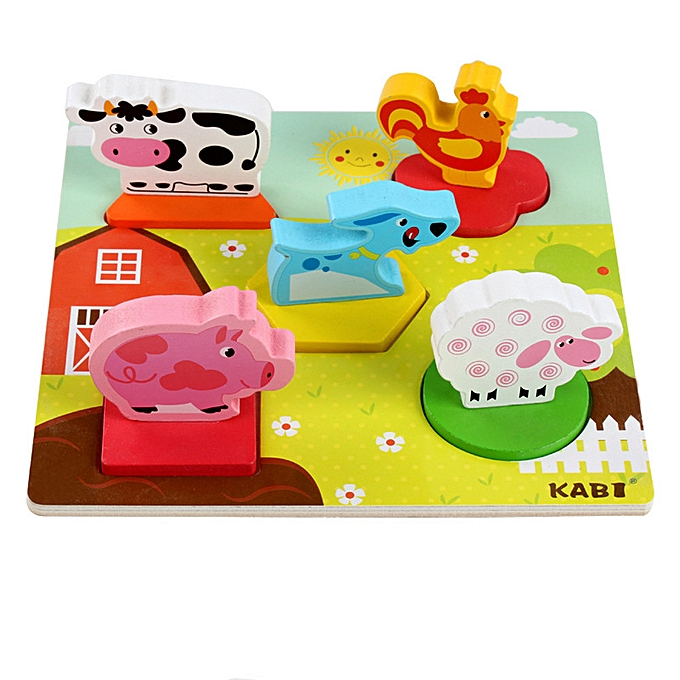 Generic Kids Baby Wooden Anime 3D Puzzle Wooden Geometric Learning Educational Toy à prix pas cher