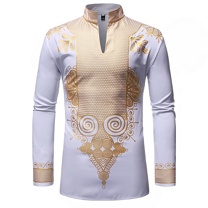 Other Men's Long Sleeve Blouses Stand Collar Africa Shirt-blanc à prix pas cher