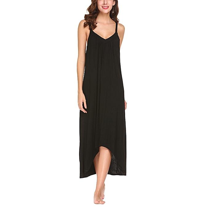 Sunshine Les femmes v cou spaghetti sangle irrégulière ourlet solide robe de sommeil à prix pas cher