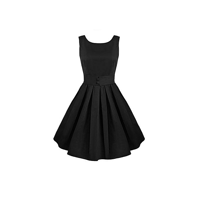 Sunshine femmes\'s Sleeveless O-neck Sexy Stretch Dress-noir à prix pas cher