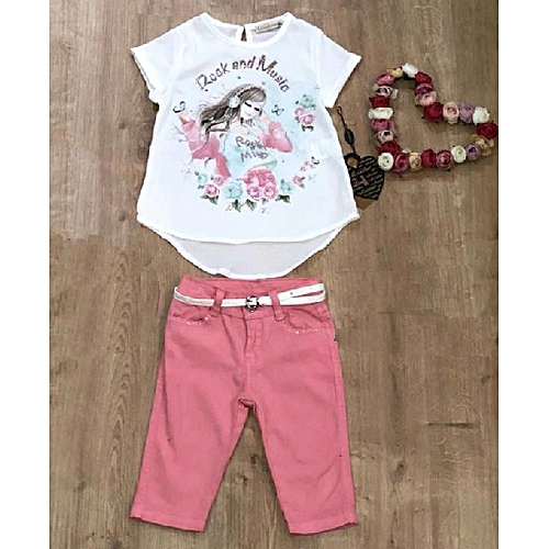 Ensemble fille pantacourt rose et tshirt blanc rock and for Housse voiture rose