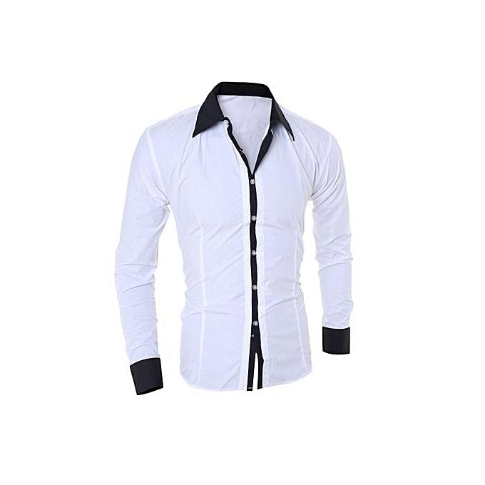 nouveauorldline Décontracté Slim chemise à hommeches longues de personnalité Mode Hommes Top Chemisier  blanc à prix pas cher