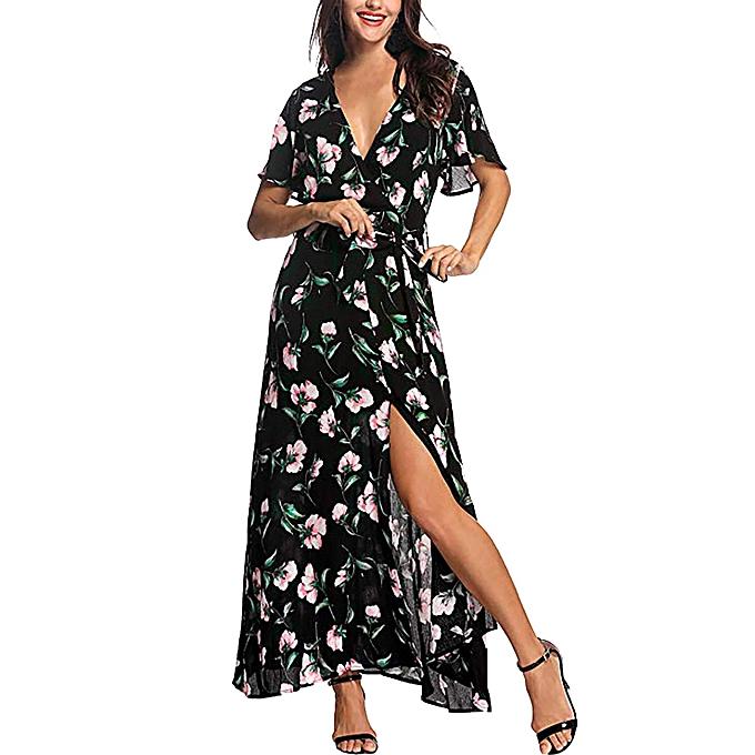Fashion whiskyky store femmes Summer V Neck Short Sleeve Floral Print Beach Party Wedding Long Dress à prix pas cher