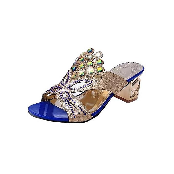 Fashion Blicool Shop femmes Sandals Summer Fashion femmes Girl Big Rhinestone High Heel Sandals Ladies Beach Sandal -bleu à prix pas cher