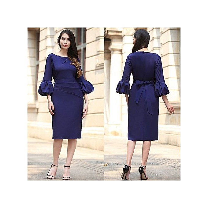 mode femmes Autumn Winter Vintage Pinup Retro Rockabilly 3 4 Sleeve Button Ruched Pleated Work Party Wiggle Sheath Robe-navy bleu à prix pas cher