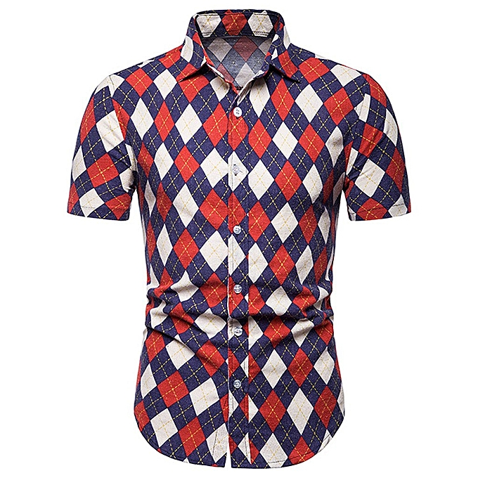 mode jiahsyc store Hommes& 039;s mode Argyle Print Slim Fit Button manche courte Top Shirt chemisier à prix pas cher