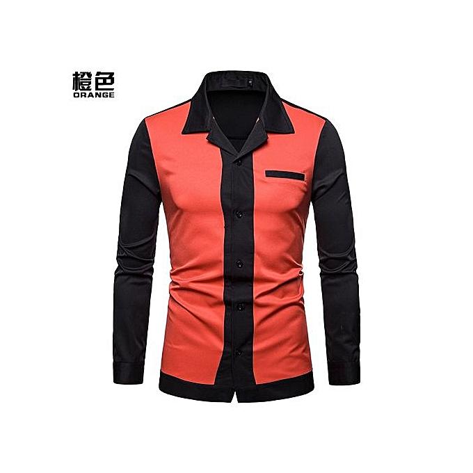 Generic Hot Sales  Men Shirt Men's Splice Turn-Down Collar Shirt Casual Slim Fit Male Shirts Fashion Men's Long Sleeve Shirts - Orange à prix pas cher