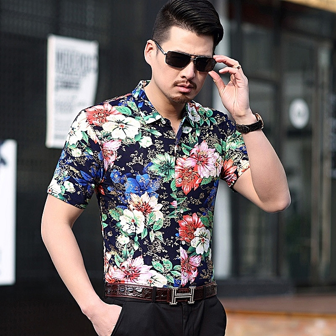 Other New Stylish Summer Men Flower Printed Short Sleeve Anti-wrinkle à prix pas cher