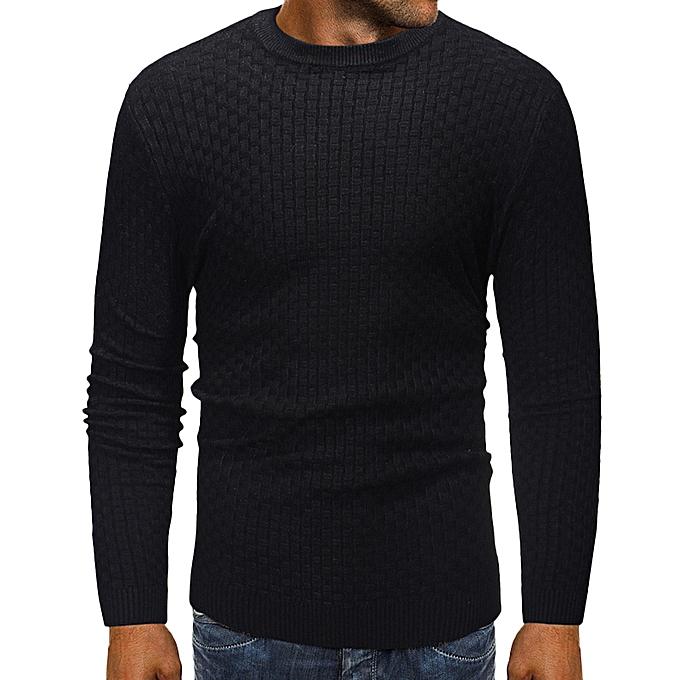Fashion Men's Long Sleeve Autumn Winter Slub Pattern Casual Top Blouse Knitted Sweater -noir à prix pas cher