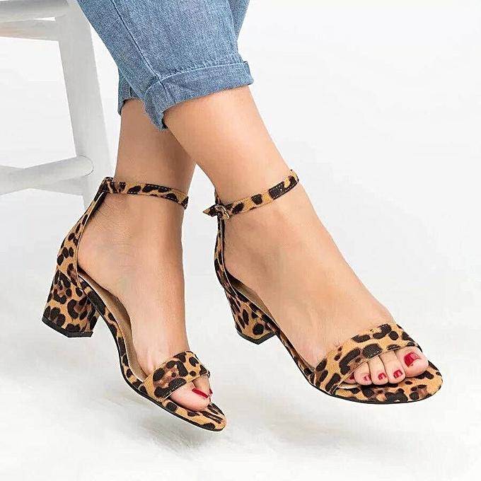 mode (Xiuxingzi)  été Sexy femmes Leopard Print Ladies Ankle One Word Buckle Thick Heel Sandals à prix pas cher