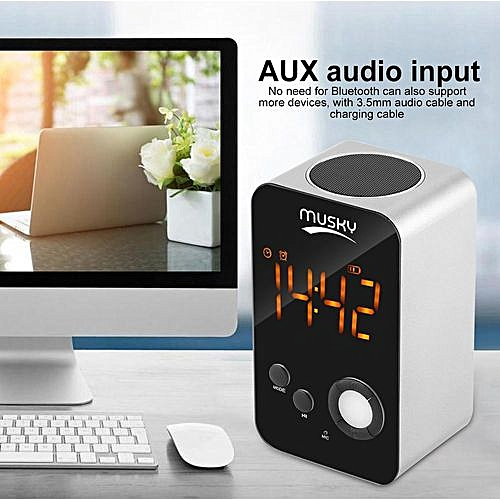 MUSKY LED Bluetooth Speaker Alarm Clock FM Radio With USB Charging Cable