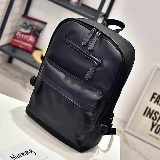 Fashion blicool travel wallet Neutral Leather Backpack Laptop Satchel Travel School Rucksack wallet -noir à prix pas cher