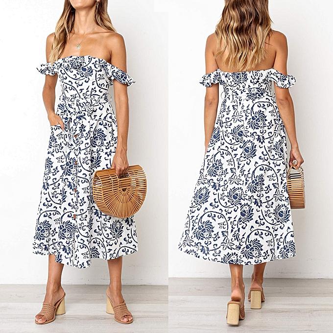 Fashion femmes Summer Casual Retro Print Slash Neck Button Sling Ruffle Pocket Club Dress à prix pas cher