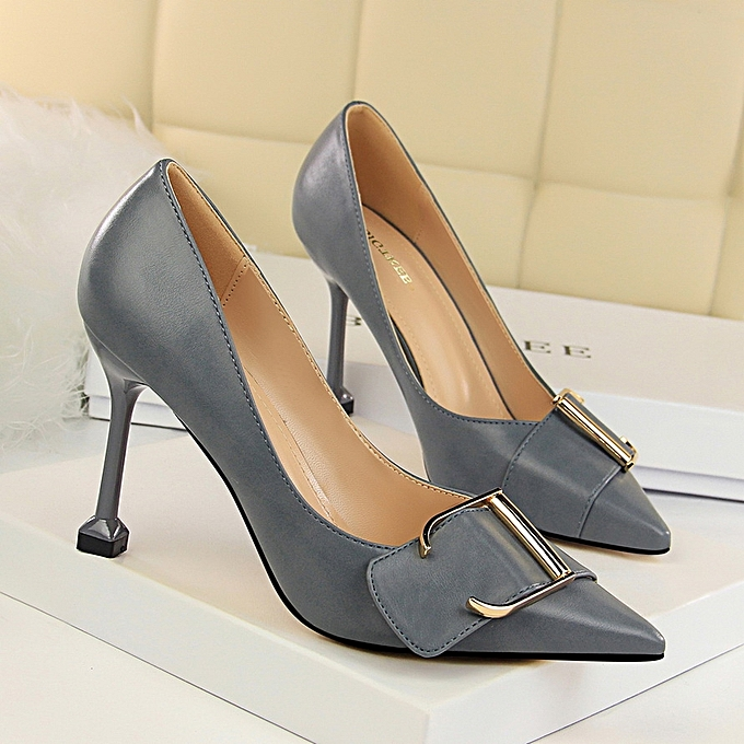 Tauntte 9.5cm Point Toe OL Formal Pumps High Heels Shallow femmes Office chaussures (gris) à prix pas cher    Jumia Maroc