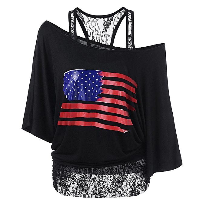 mode Hiamok femmes Ladies American Flag impression Lace T-Shirt manche courte hauts chemisier L à prix pas cher