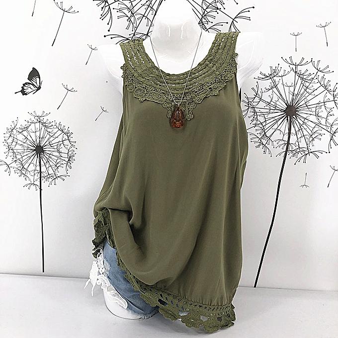 Generic Generic femmes Ladies Cami Sleeveless Lace Splice Décontracté HolFaible Vest Tank Top Shirt A1 à prix pas cher