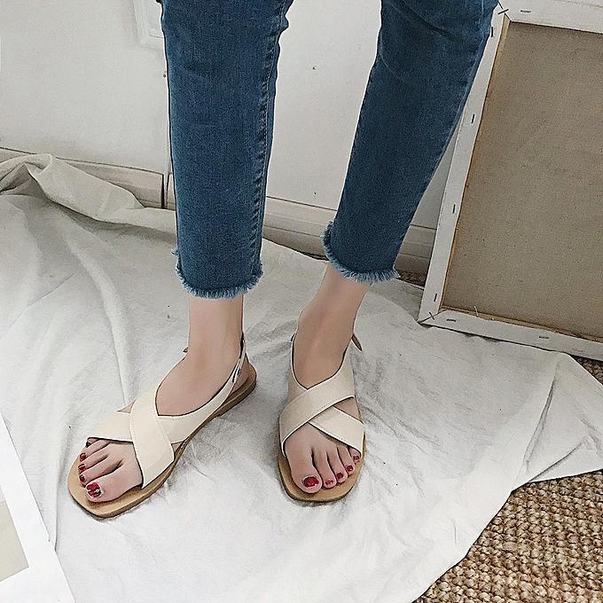 Fashion Summer Flats femmes Cross Buckle Strap Sandals à prix pas cher