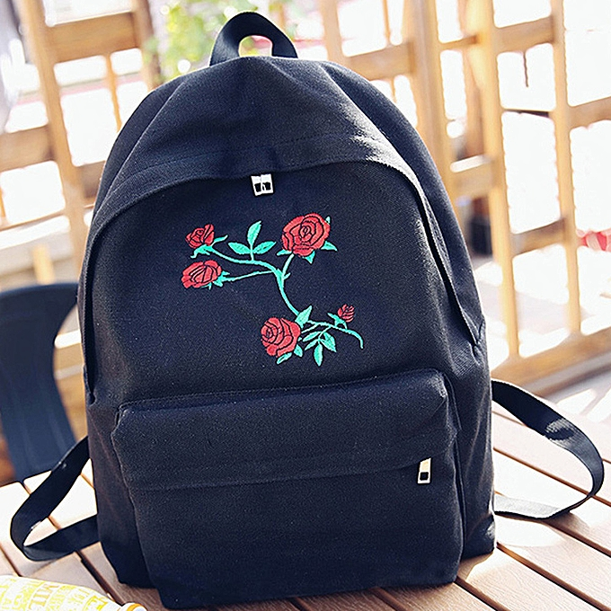 mode whiskyky store femmes Girls toile Embroidery FFaibleers School sac voyage sac à dos sac -noir à prix pas cher