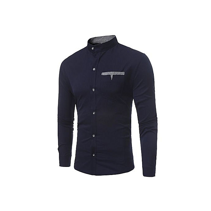 AFankara Men Shirts New Arrivals Slim Fit Male Shirt-Navy à prix pas cher