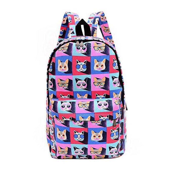 Fashion Hiamok _femmes Men Canvas Backpack Bookbag Rucksack Travel School Shoulder Bag Satchel à prix pas cher