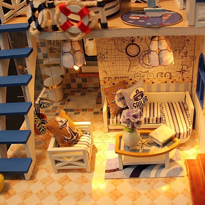 Autre Kit de cadeau de meubles de miniatures de maison de poupée de villa de maison de poupée lumineuse de LED à prix pas cher