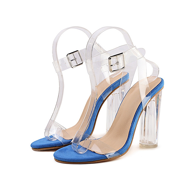 Fashion One-button buckled transparent high heel sandals bleu à prix pas cher