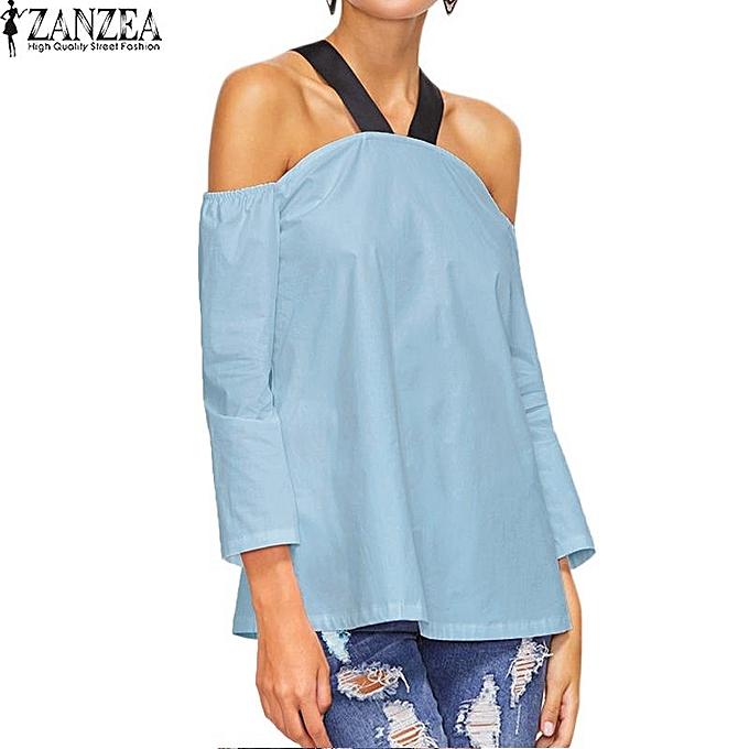 mode ZANZEA femmes Boho Halterneck Décontracté Loose hauts Shirt chemisier été Female 3 4 Sleeve Off Shoulder Party Club Top bleusas S-5XL (bleu) à prix pas cher