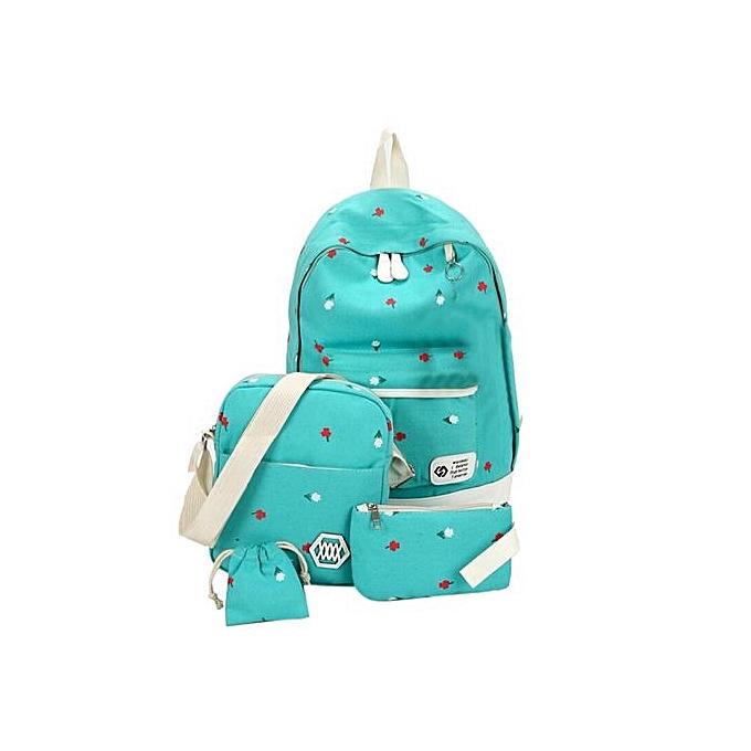 Neworldline Fashion Students Canvas Shoulder Bag Large Backpack Pouch Four Sets Girls BU-bleu à prix pas cher