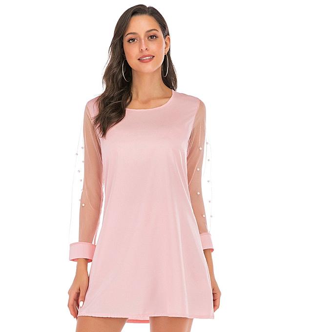 Fashion Wohommes Beading Mesh Solid Dress Summer New Fashion Versatile Skirt à prix pas cher