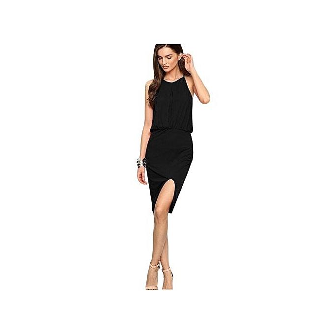Generic HL Trendy Spaghetti Strap Elastic Waist Slim Slit Robe For femmes (noir)(S-XL) à prix pas cher