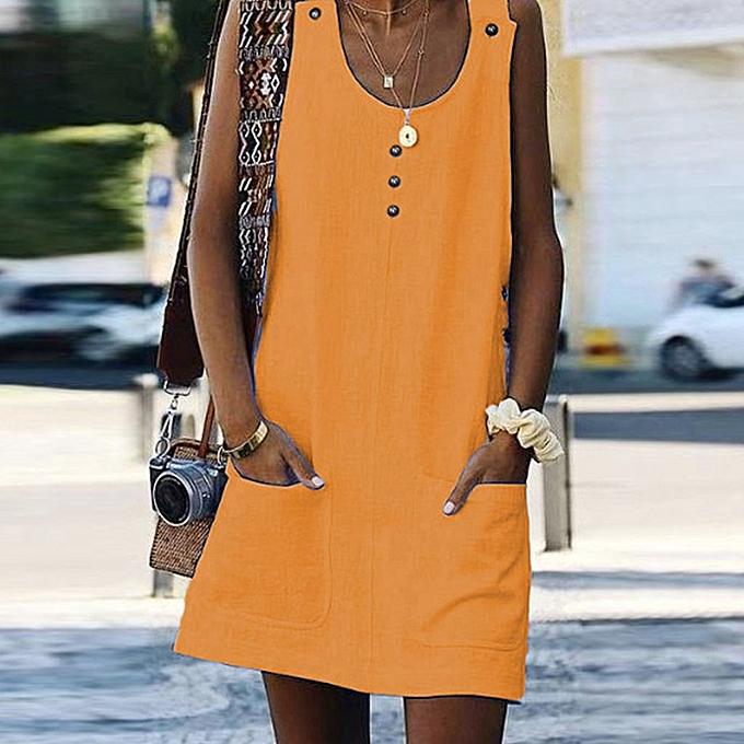 Fashion femmes Boho Summer Casual Button Pockets Sleeveless Dress Beach Maxi Dress OR L à prix pas cher