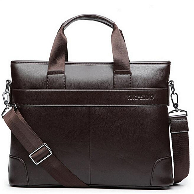 Fashion Men Briefcase Leather Bag Business Shoulder Crossbody Messenger Laptop Handbag  marron à prix pas cher