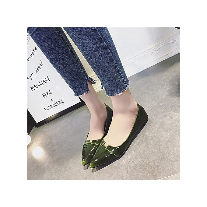 Fashion femmes Casual Pointed Toe Pumps Flats Ladies Party Patent Leather chaussures Fashion vert à prix pas cher    Jumia Maroc