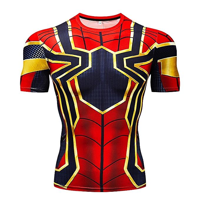 Other 2018 Mens Superhero Compression Shirt Spiderhomme Fit Tight Sport T-Shirt à prix pas cher