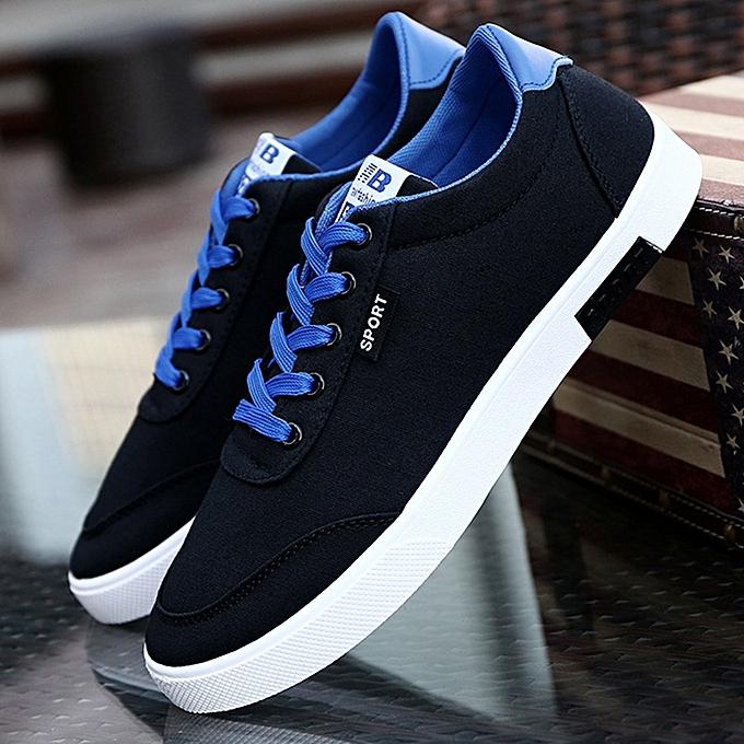 bleuLife Men's Canvas Comfortable chaussures Lace-up Casual Flats - noir à prix pas cher